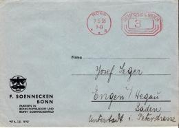 Deutsches Reich Freistempel Beleg 1936 Bonn - Engen - Briefe U. Dokumente