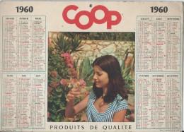 Calendrier Promotionnel/ COOP/ Produits De Qualité /Jeune Femme Et Poussin /1960  CAL176 - Big : 1941-60