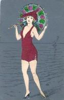AK MADE Kordsamt UND KARTON Das Mädchen In Einem Badeanzug Mit Einem Sonnenschirm  KUNSTLEKARTEN  ALTE  POSTKARTEN - Cartes Postales