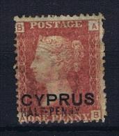 Cyprus: 1880 Michel 7 Type II  Plate Nr 216, Used  CV 500 Euro - Cyprus (...-1960)