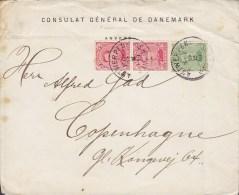 Belgium CONSULAT GÉNÉRAL DE DANEMARK, ANTWERPEN . ANVERS 1919 Cover Lettre To Denmark (2 Scans) - Belgien