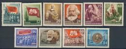 BL5-124 EAST GERMANY MI 344-353 DEATH OF KARL MARX. MNH, POSTFRIS, NEUF**, 351-352 CHARNIER, FALZ, HINGED. - Karl Marx