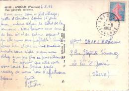 VAUCLUSE - ANSOUIS LE 2-8-1963 SUR 20c SEMEUSE - CARTE POSTALE ANSOUIS VUE GENERALE. - Postmark Collection (Covers)