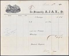 STEAMSHIP  AJAX  SIDEWHEELER  PACKET  PACIFIC  COAST  1870 - Covers & Documents