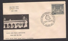 INDIA - FDC (New Delhi) 1966 Pacific Area Travel Association, Mosque Agra Tomb - FDC