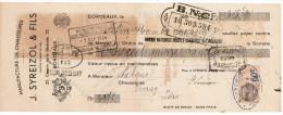 1934 MANUFACTURE DE CHAUSSURES J. SYREIZOL & FILS MAISON FONDE EN 1904 25 CHEMIN DE LA BECHADE BORDEAUX - Letras De Cambio