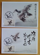 Maxi Cards Taiwan 2014 Swan Goose Carries A Message Stamp Bird Geese Joint