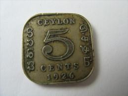 CEYLON 5 CENTS  1926 COIN  LOT 27 NUM 5 - Autres – Asie