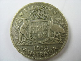 AUSTRALIA 1 ONE FLORIN 2 SHILLING KM 48   SILVER  500   1952   COIN  LOT 27 NUM 12 - Azerbaïjan