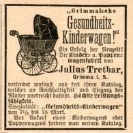 Original-Werbung/Inserat/ Anzeige 1892: GESUNDHEITS-KINDERWAGEN JULIUS TRETBAR GRIMMA  Ca. 45 X 50 Mm - Werbung