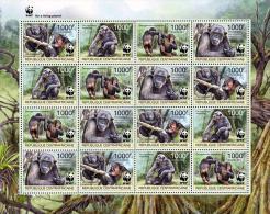 (wwf-500) W.W.F. Central Africa MNH Central Chimpanzee Sheetlet 2012 - W.W.F.