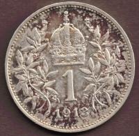 AUSTRIA 1 KRONE 1913  ARGENT SILVER - Autriche