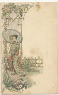 Japonaise Japanese Geisha Aux Iris Signée J.E. Bagues Litho - Autres Illustrateurs