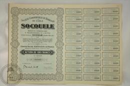 Old Share - Action 100 Francs Agriculture - Socouele - Sociéte Commerciale Et Agricole De L´Uele 1927 - Agricultura