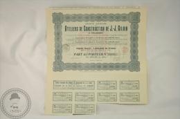 Old Share - Action Ateliers De Construction De J. -J. Gilain A Tirlemont, Year 1921 - Acciones & Títulos