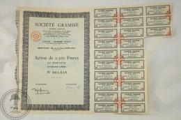 Old Share - Action Sociéte Gramme/ Gram Company - Paris, Pantin - 2500 Francs - Industrial