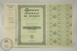 Old Share - Compagnie Générale De Banque  - Action De Cent Francs Au Porteur -  1938 - Banco & Caja De Ahorros
