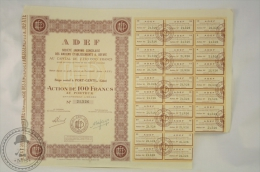 Old Share - Action De 100 Francs - ADEF - Societe Anonyme Congolaise Des Anciens Establissements A Defaye - Port Gentil - Acciones & Títulos
