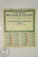 Old Share - Action Nominative De 500 Francs - Billaud & Fillias - Sede Social Paris 1928 - Industrial
