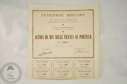 Old Share - Action Entreprise Bernard - Sede Social Vincennes ( Seine) - 1957 - Sin Clasificación