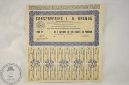 Old Share - Conserveries L. R. Orange - Chemin De La Deymarde, A Orange ( Vaucluse) - Acciones & Títulos