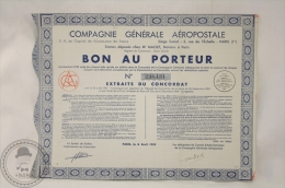 Old Share - Action Compagnie Generale Aeropostale - Bon Au Porteur - 1935 - Sin Clasificación
