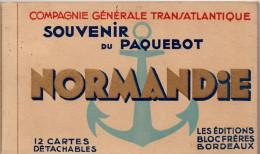Carnet Complet De 12 Cpa ´Souvenir Du Paquebot Normandie´ (Editions Bloc Frères, Bordeaux) - Paquebote