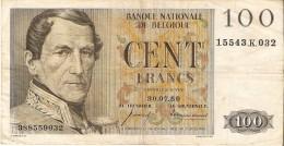 BILLETE DE BELGICA DE 100 FRANCOS DEL AÑO 1959   (BANK NOTE) 30.07.1959 - [ 2] 1831-... : Reino De Bélgica