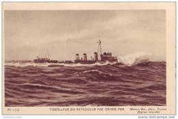 """Torpilleur En Patrouille Par Grosse Mer - N° 174 De La Série """"Marius Bar, Phot, Toulon"""" - Warships"""