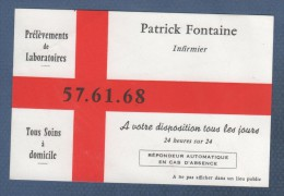 CARTE COMMERCIALE PATRICK FONTAINE - INFIRMIER - Visiting Cards