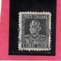 ITALIA REGNO ITALY KINGDOM 1927 EFFIGIE RE VITTORIO EMANUELE III  KING EFFIGY LIRE 1,85 USATO USED - 1900-44 Vittorio Emanuele III