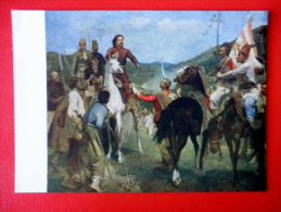 Painting By E. Veszpremi . Rákóczi And Esze Tamás Meeting  - Horse - Hungarian Art - Unused - Peintures & Tableaux