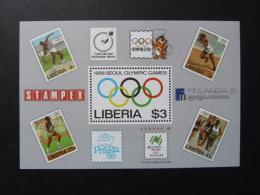 "FEUILLET ""LIBERIA""   J.O. SEOUL 88 -  (YetT)   Stampex - Summer 1988: Seoul"