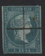 1 R. Azul; Edifil No.41; Michel Nr.33, Usado , Con Filigrana Lazos , Wasserzeichen 1 - Usados