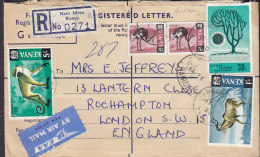 Kenya EAA By Airmail Par Avion & Registered NARO MORU Labels 1970 Cover Brief LONDON England Monkey Ostrich Kudu Stamps - Kenia (1963-...)
