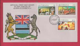 BOTSWANA, 1977,  Mint FDC, Silver Jubilee, MI 179-181, F3611 - Botswana (1966-...)