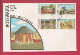BOTSWANA, 1982,  Mint FDC, Traditional Houses, MI 295-298, F3631 - Botswana (1966-...)