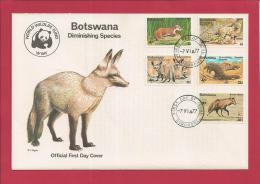 BOTSWANA, 1977,  Mint FDC, WWF Diminishing Species, MI 182-186, F3612 - Botswana (1966-...)