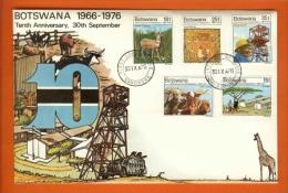 BOTSWANA 1976,  Mint FDC, 10 Year Independence,  MI 169-173, F3140 - Bechuanaland (...-1966)