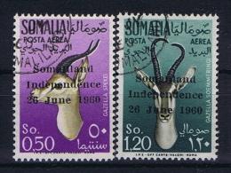 Somalia: 1960 Mi Nr 2 + 3 Airmail  Used - Somalië (1960-...)