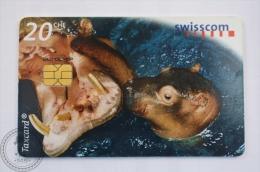 Switzerland Collectible  Phone Card: Young And Wild/ Basel Zoo/ Hippopotamus - Tarjetas Telefónicas
