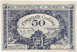 RARE - Billet Principauté De Monaco - 50 Centimes 1920 - - Monaco