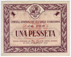 RARE - Billet Principauté D'Andorre - Una Pesseta 1936 - - Andorra