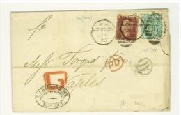 GRAN BRETAGNA - STORIA POSTALE FRATELLI FORQUET - 1 P. ROSSO MATTONE + 1 Sh ANNO 1875 - LETTERA PER NAPOLI MASSONERIA - Postmark Collection