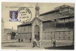 OULONGES Sur L´AUTIZE  - Les Halles . Timbre 1er Jour Niort 25 Janvier 64.. - Coulonges-sur-l'Autize