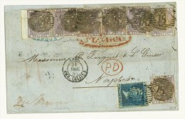 GRAN BRETAGNA - STORIA POSTALE - LETTERA FRATELLI FORQUET  ANNO 1859 - 1 P VIOLA X 1 COPPIA + 5  + 2 P X 1 - VIA FRANCE - Postmark Collection