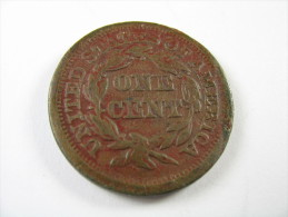 US USA 1 ONE LARGE CENT  BRAIDED HAIR  1849 COIN   LOT 27 NUM  18 - Emissioni Federali