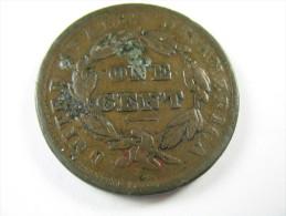 US USA 1 ONE LARGE CENT  CORONET  1839 COIN   LOT 27 NUM  20 - Émissions Fédérales