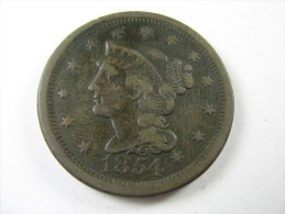 US USA 1 ONE LARGE CENT  BRAIDED  1854 COIN  HIGH GRADE  LOT 27 NUM  22 - Emissioni Federali