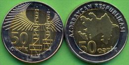Azerbaijan 2006 (ND) 50 Qapik Coin Bi-metal Bimetal KM#44 UNC / BU !!!